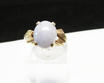 On Sale Vintage Estate 10K Lavender Jade Cabochon Ring