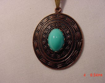Vintage Copper Gems By Coppercraft Guild South Western Faux Turquoise Necklace  17 - 772