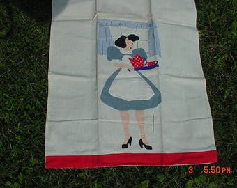 Set Of Two Vintage Hand Made Maid & Chef Dish Towels  17 - 866