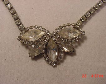Vintage Weiss Signed Rhinestone Adjustable Necklace  18 - 384