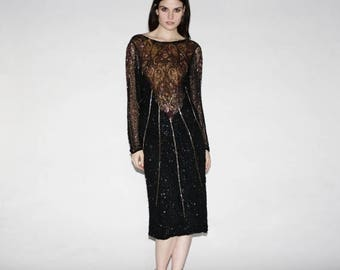 On SALE 45% Off - Vintage Beaded Black Art Deco Dress - Vintage Beaded Dresses Dress - The Baroque  Dress  - 1049