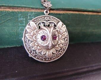 Vintage aged silver brass owl with amethyst Swarovski necklace