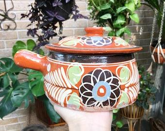 Vintage Tlaquepaque pottery bowl with lid, Decorative Mexican Folk Art pot