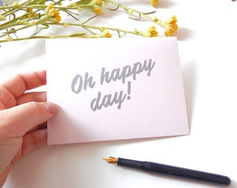 Oh happy day, matte silver and pink card, hymns and verses, Christian gift, encouragement gift, best friend birthday card