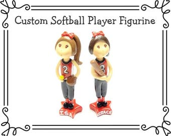 Custom Cold Porcelain Softball Player Cake Topper, Personalized  Pitcher or Batter Clay Figurine, Softball or Baseball  Cake Topper,  Gift