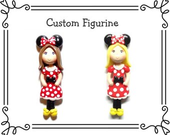 Custom Cold Porcelain Clay Minnie Girl Figurine, Ornament, Pendant, Bow Center, Purse Charm, Magnet, Brooch, Necklace, Minnie Jewelry, Gift