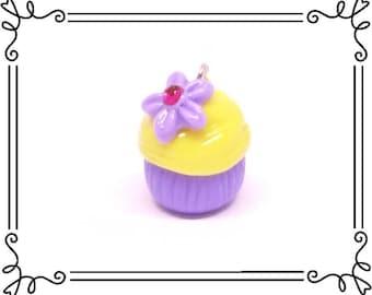 Cold Porcelain Clay Princess Rapunzel Cupcake Charm, Purple Cupcake With Flower, Cupcake Clay Charm, Purse Charm, Planner Charm, DIY Jewelry