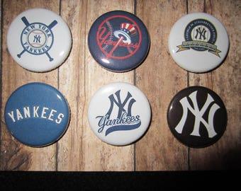 New York Yankees Pin Back Buttons, Pin Back Buttons, New York Yankess, Magnets, Pins, Pin Backs, Baseball Pins