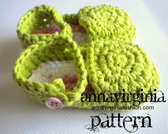 CROCHET PATTERN Baby Girl Flats - PDF Crochet Pattern