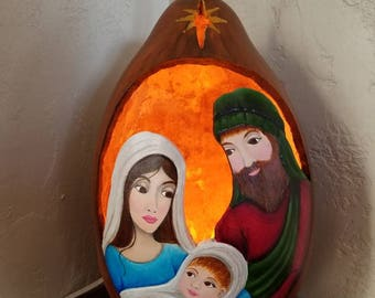 Nativity Light Up Dried Gourd