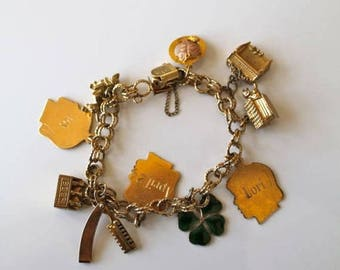 AWAY SALE 20% off vintage gold charm bracelet - AJC gold filled assorted charm bracelet