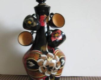 Wooden Decanter With Shot Glasses / Ukrainian Folk Art