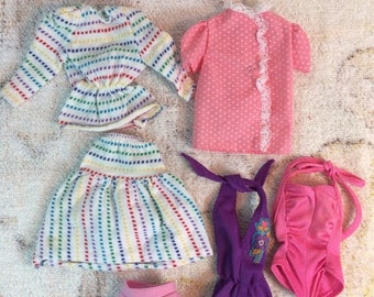 20% SALE 1970s Genuine Barbie Fashions Retro Doll Clothing Swimsuit Shirt Matching Stripes Outfit Lot