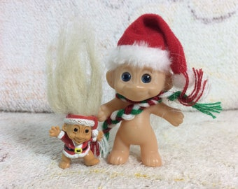 Christmas Santa 1990s Russ Troll Doll Pencil Topper and Fakie Doll
