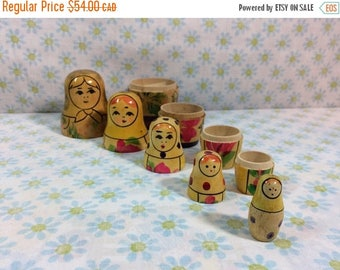 SALE SALE SALE Vtg Russian Nesting Dolls Matryoshka Wooden Set of 5 Hand Painted Beautiful Wooden Ladies Ussr