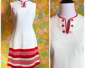 Vintage 1960's White and Red Striped Button Detail A Line Mod Scooter Mini Valentines Day Dress Medium M