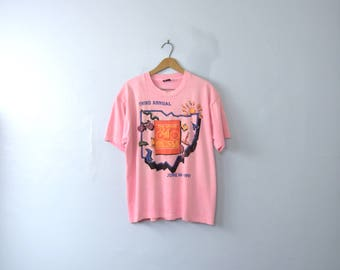 Vintage 90's pink graphic tee, Ohio bicycle adventure shirt, size XL