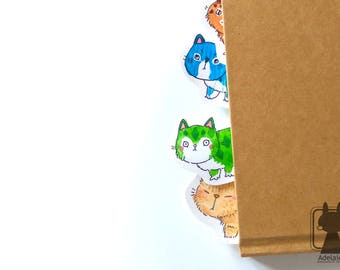 Cat paper bookmark - unique cat bookmarks - handpainted watercolor bookmark - two-sided