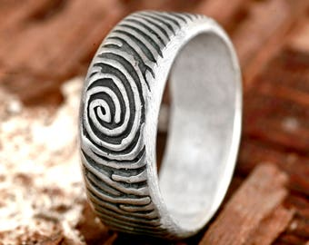 Sterling Silver Mens Fingerprint Ring Engraved Handwriting