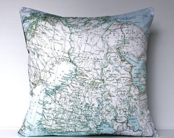 SALE SALE SALE Vintage map print pillow , decorative cushion Finland map organic cotton, pillow 16x16