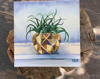 Succulent plant - Oil Painting - Bule and yellow - freestanding art