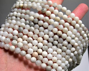 White lace agate - 6 mm round - 1 full strand - 60 beads - RFG1548