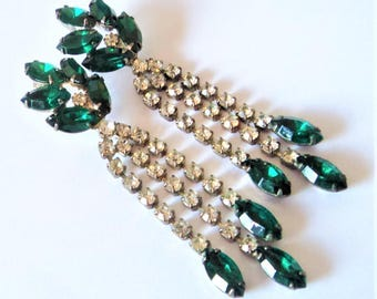 Emerald Green Clear Diamante Earrings... Long Sparkly Chandeliers... 1980s Statement
