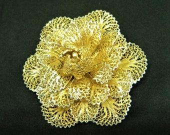 Real Silver Gilt Brooch... Filigree Flower... Layered Petals... Vermeil