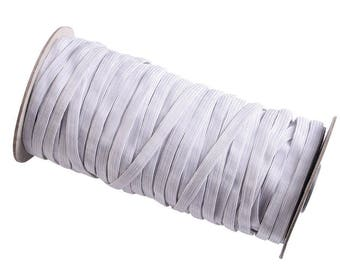 white elastic cord, 1/4 inch wide elastic band, 70 yards in one roll elastic cord in white color