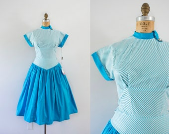1950s Frosted Hour cotton aqua flare dress / 50s deadstock