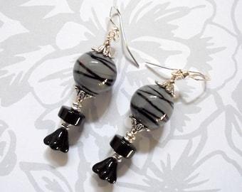 Gray and Black Striped Boho Earrings (3704)