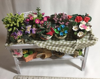 Dolls House Miniatures - Flower Potting Bench