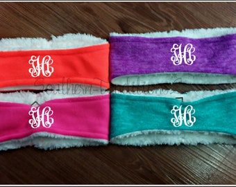 Monogram Sherpa Headbands - Monogrammed Fleece Sherpa Headbands - Bright Colored Headband