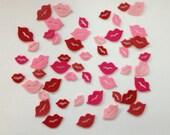 Wool Felt Lips 50 total Die Cuts - Pinks and Reds 4023 - Crochet Doll Lips - Dolls Lips
