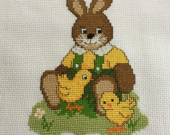 Completed Finished Cross Stitch Easter Bunny With Chicken, Bunny Cross Stitch Picture, Cute Easter Bunny, Rabbit, Easter Spring Cross Stitch