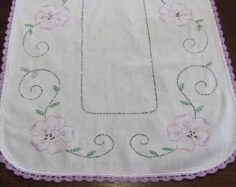 Vintage Hand Embroidered Lavender Floral Table Runner Dresser Scarf