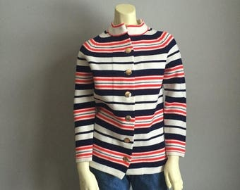final 2017 MASSIVE SALE 60s hand loomed MOD vintage centennial era gold buttons cardigan Sweater retro red white and blue womens knit jacket