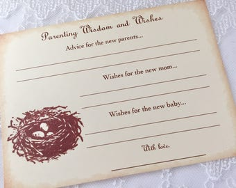 Parenting Advice Cards Nest Baby Shower Activity Game Cards Baby Wishes Bird Eggs Set of 10