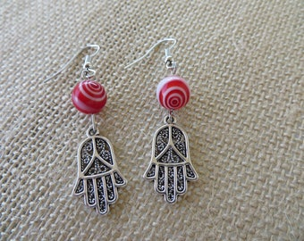 Silver Hamsa And Red And White Glass Bead Earrings