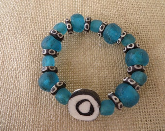 Stretch Beaded Bracelet With Recycled Ghana Glass And Kenyan Cow Bone Beads