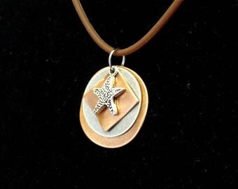 Starfish copper and silver pendant (Style #1488)