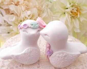 Love Birds Wedding Cake Topper, White, Pink, Lilac and Mint Green,  Bride and Groom Keepsake, Fully Customizable