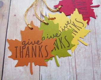 Autumn Leaf Tags Give Thanks Fall Leaves Thanksgiving