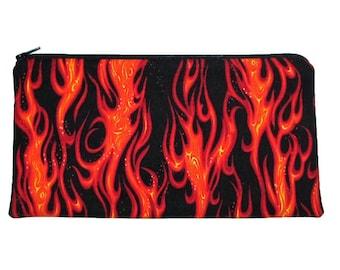 Hot Rod Flames Large Zipper Pouch Pencil Case Clutch Purse - Ready to Ship