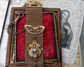 Antique Victorian Ladies Memento Mori Skull & Cross Mesh Watch Fob, Talisman for the Alchemist, by RusticGypsyCreations