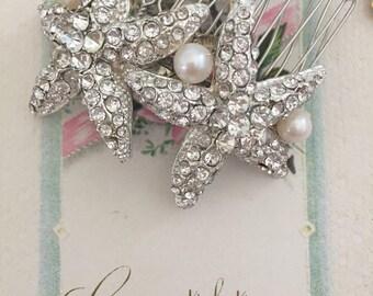 Starfish Wedding Headpiece - Starfish Hair Comb - Silver Starfish Wedding Hair Accessory -  Wedding Hair Comb-Silver Starfish Hair Comb