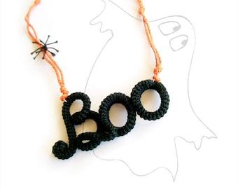 Black Orange Boo Necklace Halloween Jewelry