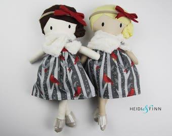 LIMITED holiday stuffed doll Mini Pals soft rag doll keepsake gift OOAK ready to ship holiday christmas fur white