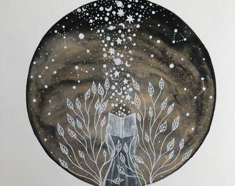 Celestial Watercolor // original painting// the dream reader