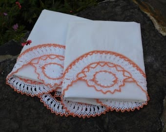Vintage Pillowcases-Crochet Trim-Peach-Cotton Pillowcase-Vintage bedding-Pillowcase set-Hand Crochet-Lace Trim